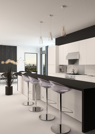 bar area: Modern black and white kitchen with a long receding bar counter with bar stools and a small compact living area in front of corner windows