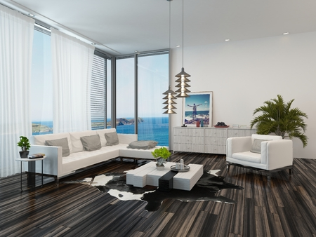 blinds: Modern living room interior overlooking the ocean with wooden parquet flooring, view windows, white decor and an upholstered lounge suite with potted palms
