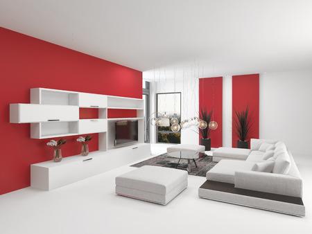 room accents: Upmarket interni moderni soggiorno con accenti rossi vivaci e arredi bianchi con una suite confortevole salotto modulare in bianco e pensili in legno con un televisore