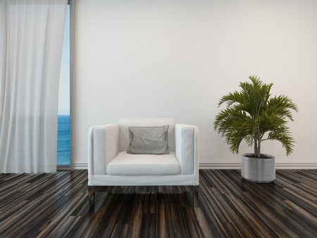 uncarpeted: Armchair and potted palm on a wooden parquet floor alongside a curtained window with a view of the sea in a living room interior