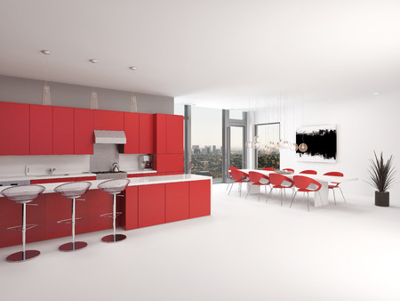 Modern open plan red kitchen interior with a long counter with bar stools and kitchen cabinets and appliances along the wall accented in red and white decor, spacious architectural background photo