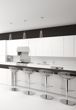 bar chair: Modern open-plan black and white kitchen interior with a counter and bar stools Stock Photo