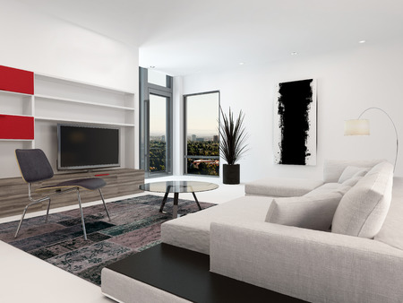 Modern living room interior with a large television set in wall-mounted cabinets, a large upholstered sofa and small corner windows in white decor with red accents photo