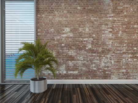 venetian blind: Modern rustic face brick interior decor with an empty room with a potted palm on a wooden parquet floor in front of a window with blinds overlooking the sea