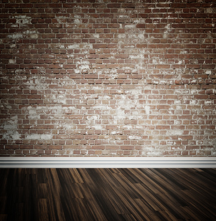 skirting: Rustic face brick interior wall and wooden parquet floor background with central highlight and skirting board