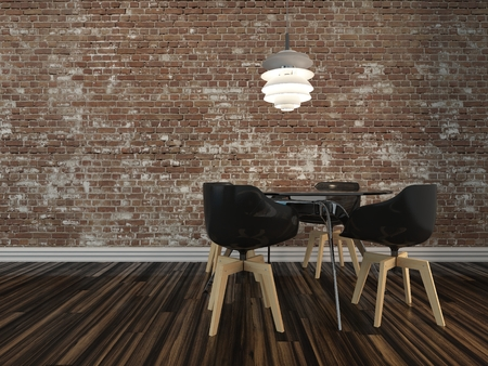 light fitting: Small modern dining table and four chairs on a wooden parquet floor with rustic face brick wall in an architectural and interior decor background