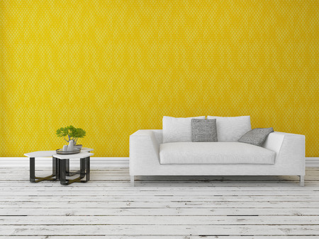 modern sofa: Modern sofa with a nest of small tables and bonsai tree in front of a gold wall on a rustic wooden floor painted white with copyspace Stock Photo