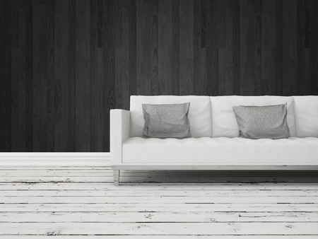 uncarpeted: Black and white interior decor background with a generic modern white sofa against a dark wall with grungy rustic weathered wooden white painted floor boards