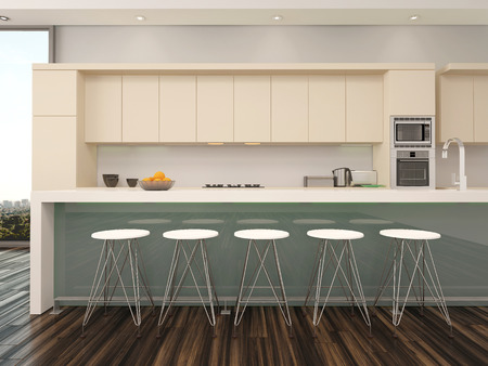 bar stools: Modern open plan apartment kitchen interior with a counter with bar stools and wooden wall mounted cabinets painted cream alongside a view window