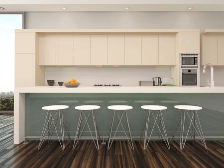 Moderne open keuken van het appartement interieur met een teller ...
