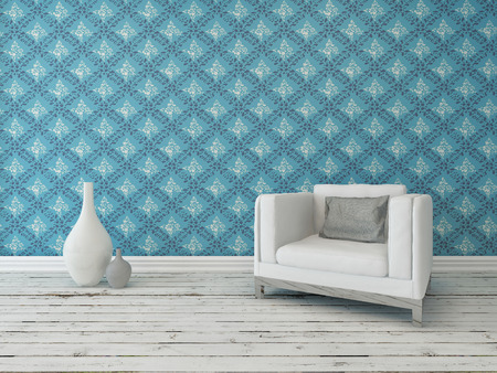 floorboards: Rustic interior living room decor with a comfortable cream armchair against a wall with a large patterned blue wallpaper on a grunge white painted wooden floor with vase ornaments Stock Photo