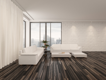 minimalist interior: Modern minimalist sitting room interior with a bare wooden parquet floor, contemporary upholstered lounge suite and large view windows with a garden view in a white brick wall Stock Photo