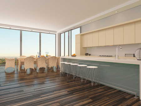 Upmarket open-plan kitchen and dining room with a contemporary dining table and chairs in front of large view windows with an urban view and a counter with bar stools connecting to the kitchen area photo