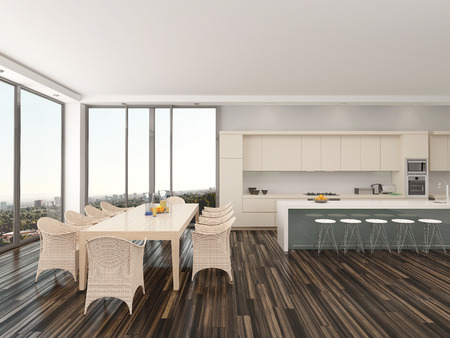 Upmarket open keuken en eetkamer met een moderne eettafel en ...