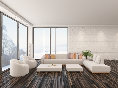 Modern minimalist sitting room interior with a bare wooden parquet floor, contemporary upholstered lounge suite and large view windows with a garden view in a white brick wall photo