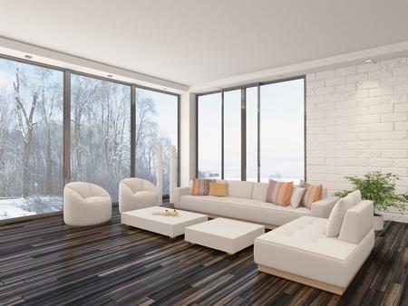 Moderne Graue Und Weiße Wohnzimmer Mit Stehlampe, Sofa, Couchtisch ...