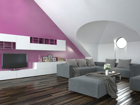 room accent: Modern loft living room interior with a sloping ceiling and purple accent wall with a grey lounge suite and parquet floor