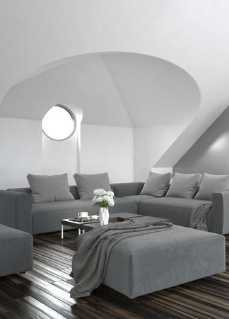 sloping: Modern grey living room interior with a circular window set in a sloping alcove above an upholstered grey lounge suite and wooden parquet flooring Stock Photo