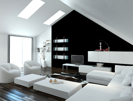 Modern compact loft living room interior with skylights in the sloping ceiling and white and black decor with a modern suite and cabinets photo