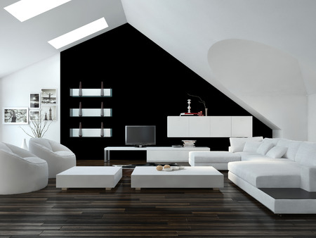 Modern design loft living room interior with skylights in the sloping ceiling and white and black decor with a modern suite and cabinets photo