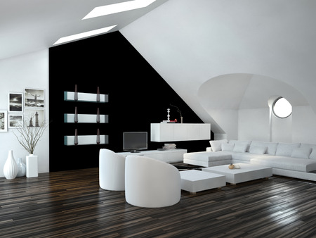 sloping: Modern design loft living room interior with skylights in the sloping ceiling and white and black decor with a modern suite and cabinets Stock Photo
