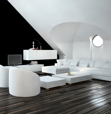 Modern design loft living room interior with white and black decor with a modern suite and cabinets photo