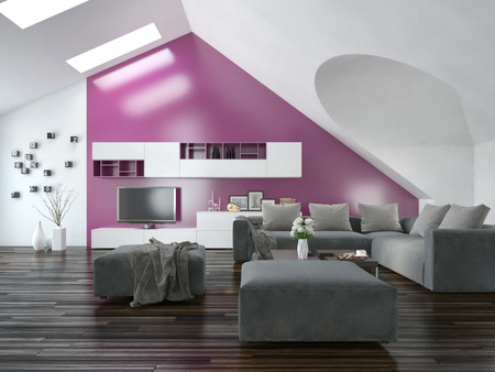 sloping: Modern apartment living room interior with a purple accent wall and sloping ceiling with skylights above a parquet floor and modern grey lounge suite with wall cabinets and television