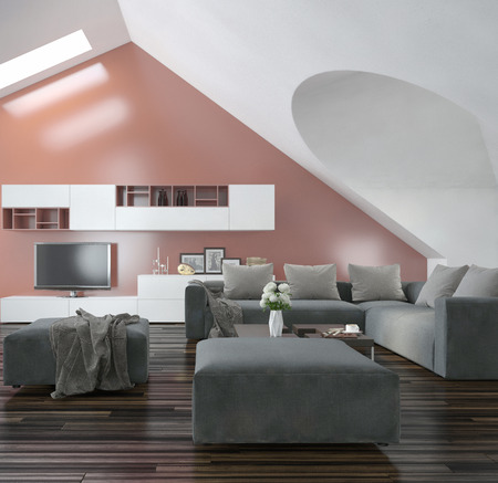 room accent: Modern living room with sloping apex walls and ceiling with skylights, a wooden parquet floor, modern grey furniture and a salmon pink accent wall Stock Photo