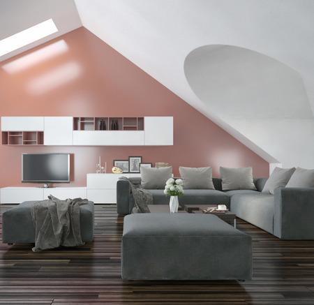 room accents: Soggiorno moderno con pareti inclinate apice e il soffitto con lucernari, pavimenti in parquet in legno, mobili moderni grigio e rosa muro accento salmone