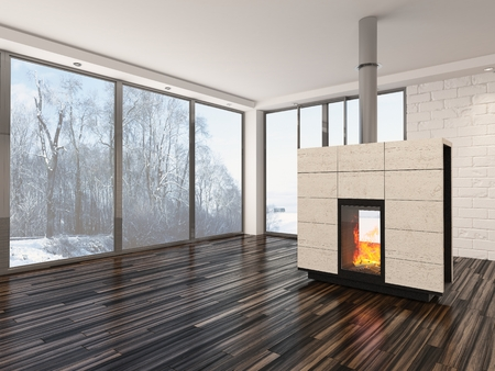 uncarpeted: Large spacious empty living room interior with a fire burning in an insert woodburner , large view windows, white walls and ceiling and a parquet floor Stock Photo