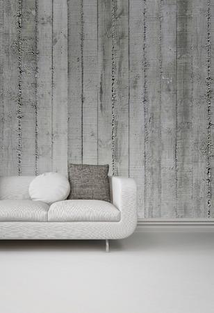 Grijswaardenbeeld van een gestoffeerde witte sofa tegen een betonnen muur op een effen witte vloer met plint