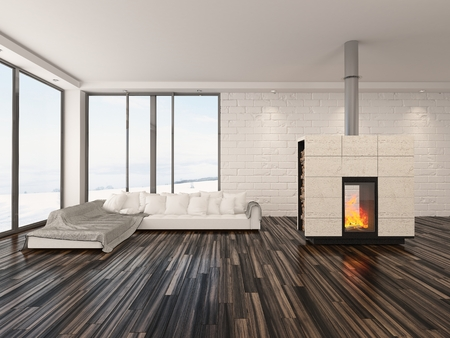 uncarpeted: Spacious airy minimalist living room interior with large view windows, a wooden parquet floor, fire burning in an insert woodburner and modern sofa