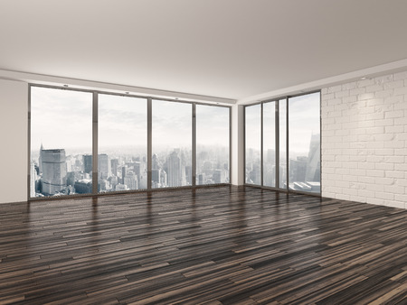 vacant: Empty apartment living room with a wooden parquet floor , white brick walls and large view windows overlooking a town