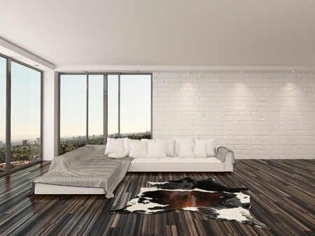 Modern minimalist living room interior with a large comfortable white sofa, animal skin on the wooden parquet floor, white brick walls and large windows with an urban view photo