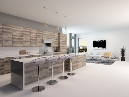 kitchenette: Rustic style wooden open-plan kitchen interior with a long bar counter and stools in a spacious living room with corner windows