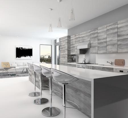 灰色の風の素朴な木製のオープン プランのキッチン インテリアのバーのカウンターとスツール コーナー窓付きの広々 としたリビング ルームに長い