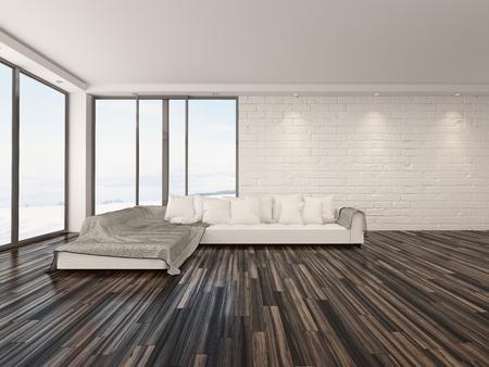 Geräumige luftige minimalistische wohnzimmer innenraum mit großen