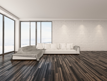 airy: Spacious airy minimalist living room interior with large view windows, a wooden parquet floor and modern sofa Stock Photo