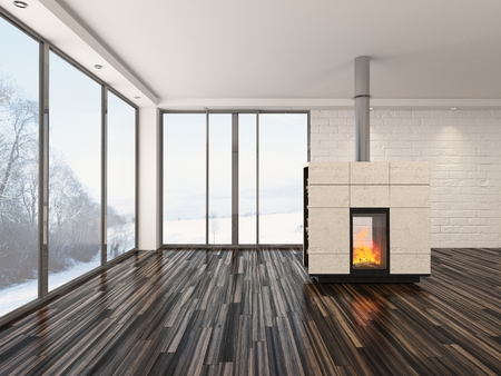 woodburner: Large spacious empty living room interior with a fire burning in an insert woodburner , large view windows, white walls and ceiling and a parquet floor Stock Photo