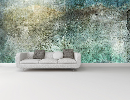 settee: White couch against an abstract green wall on a plain white floor in an interior decor and architectural background with plenty of copyspace