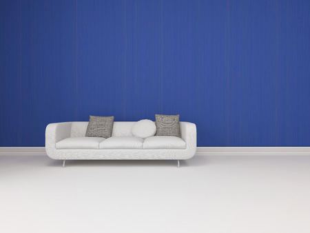 skirting: White modern sofa with grey cushions standing on a white floor with skirting board against a vivid blue wall in an architectural background