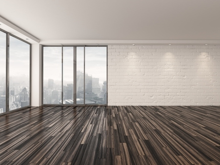 unfurnished: Empty apartment living room with a wooden parquet floor , white brick walls and large view windows overlooking a town