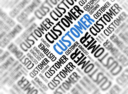 Marketing with the word - Customer - repeated in random sizes and orientations in black text with one central word in large blue uppercase lettering and selective focus photo