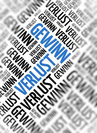 perdidas y ganancias: palabra alemana - Gewinn Verlust (p�rdidas y ganancias) - se repite en tama�os aleatorios y orientaciones en texto negro con una palabra central en grandes letras azules en may�sculas y atenci�n selectiva