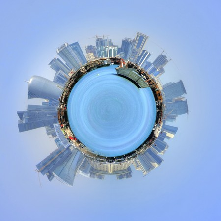 circumference: The port of Doha, Qatar and cityscape in a 360 degree circumference around a mini planet with the modern skyscrapers on a sunny skyline and a cruise ship in the sea , floating in a blue sky