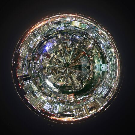 tourist destination: Aerial view of Tokyo, Japan on a mini planet showing the layout, urbanization and development of this cosmopolitan city and tourist destination Stock Photo