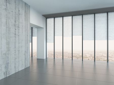 glass ceiling: Empty bright air room with light grey walls and floor and large floor-to-ceiling windows or glass wall looking out over a town