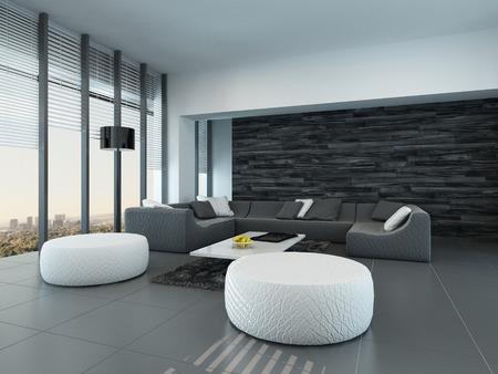 Prospettiva inclinata di un moderno grigio e bianco salotto interno con pouf e un grande divano di fronte a finestre di vetro dal pavimento al soffitto lasciando entrare molta luce Archivio Fotografico - 30079657