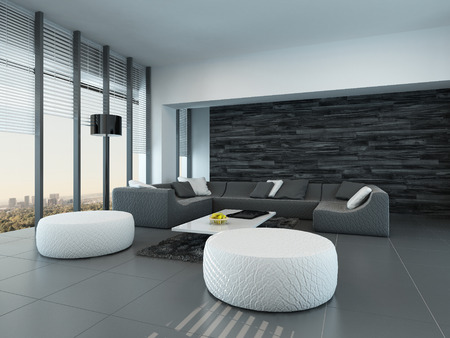 settee: Tilted perspective of a modern grey and white living room interior with ottomans and a large settee in front of floor-to-ceiling glass windows letting in lots of daylight