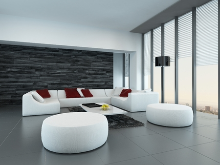 stark: Tilted perspective of a modern grey and white living room interior with ottomans and a large settee in front of floor-to-ceiling glass windows letting in lots of daylight